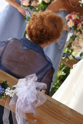 Grandmother watches her granddaughter getting married