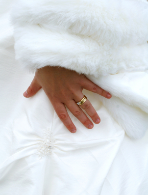 Winter white wedding dress and ring